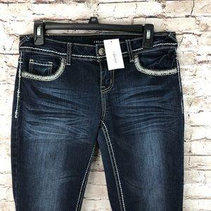 J Brand 811 Mid Rise Skinny Blue Jeans studded